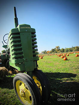 Minding My  Visions by Adri and Ray - John Deere Tractor Among The Pumpkins