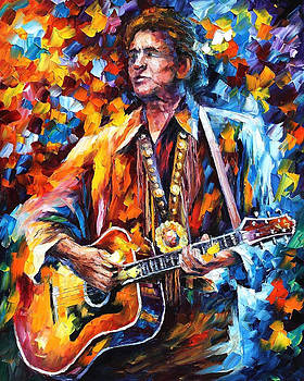 Johnny Cash - PALETTE KNIFE Oil Painting On Canvas By Leonid Afremov by Leonid Afremov