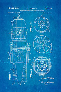Ian Monk - Johnson Jet Afterburner Patent Art 1956 Blueprint