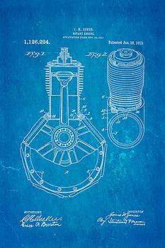 Ian Monk - Jones Hendee Mfg Co Rotary Engine Patent Art 1915 Blueprint