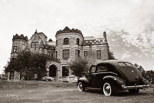 Joslyn Castle - 1940 Ford  by Andrea Kelley