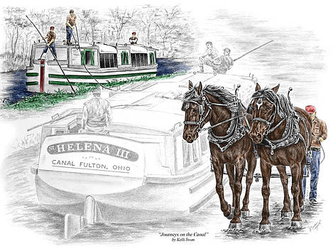 Kelli Swan - Journeys on the Canal - Canal Boat Print color tinted