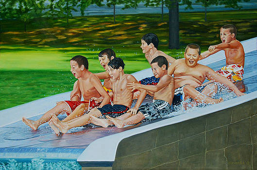 Joy on the Water Slide by Allan OMarra