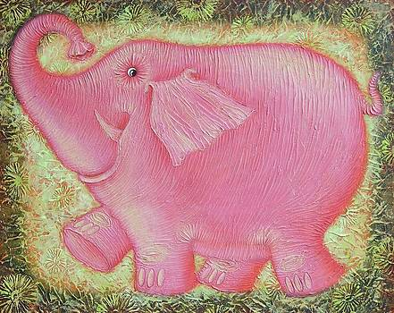 Joyful pink elephant by Raisa Vitanovska