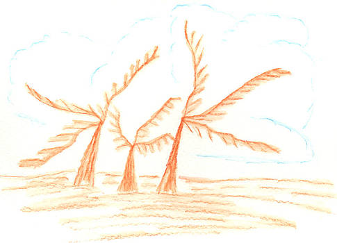 Joyous Dancing Palm Trees by Barbara Burns