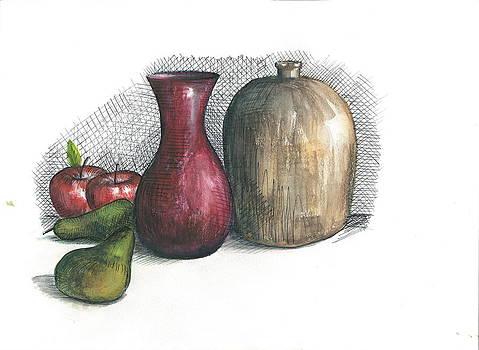 Jug Vase and Fruit by Jim  Romeo