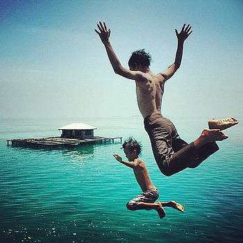 Jumping... #sea #child #nature by Dani Daniar