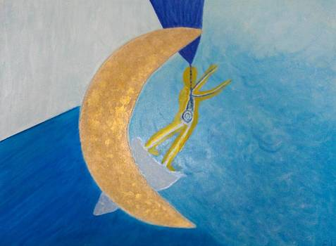 Jumping through the moon by Elisheva Herrera