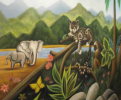 Jungle Mural Detail by Melinda Saminski