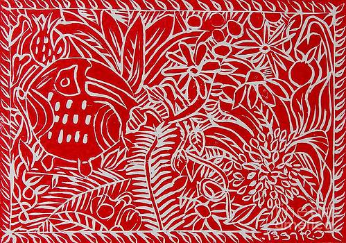 Caroline Street - Jungle Scene with Toucan Red on white