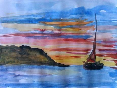 Just a boat in the ocean by Farfallina Art -Gabriela Dinca-