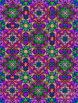 Kaleidoscope Stained Glass Abstract Art Print by Spirit Baker