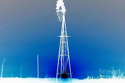 Kansas Country Windmill Inverted Negative Sunset by Robert D  Brozek