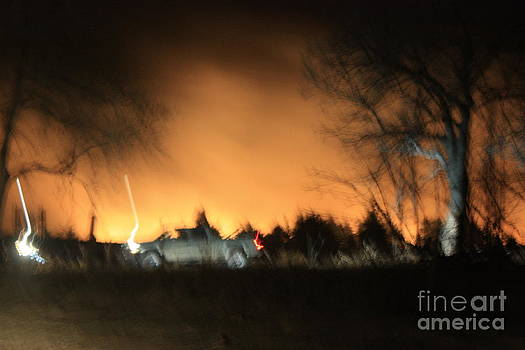 Kansas Grass fire at night by Robert D  Brozek