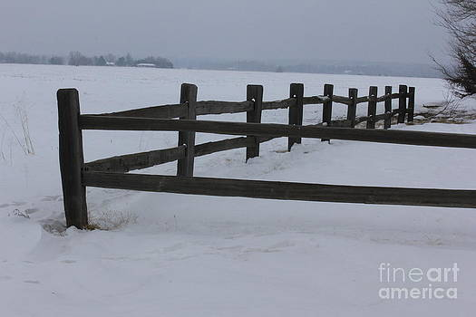 Kansas Snowy Wooden Fence by Robert D  Brozek