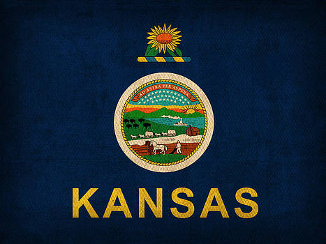 Design Turnpike - Kansas State Flag Art on Worn Canvas