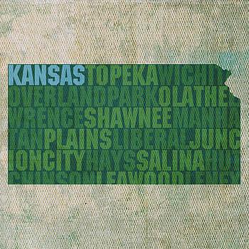 Design Turnpike - Kansas Word Art State Map on Canvas