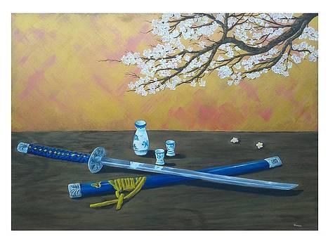 Katana sake set and cherry tree still life Hana Wa sakura gi Hito wa Bushi by Gianluca Cremonesi