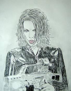 Kate Beckinsale Underworld Drawing by Dan Twyman