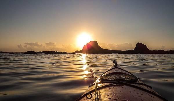 Kayak Fishing at Sunset by Kristal Talbot