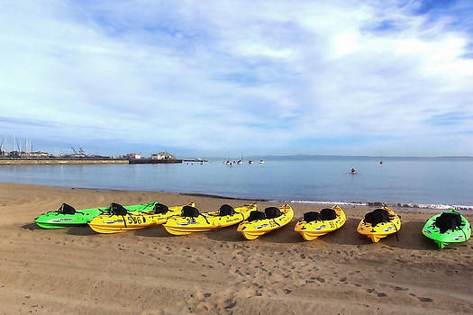 Art Block Collections - Kayaks on Monterey Bay