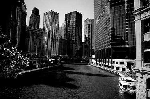 Frank J Casella - Kayaks on the Chicago River - Black