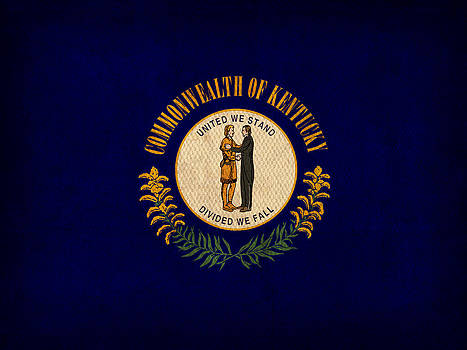 Design Turnpike - Kentucky State Flag Art on Worn Canvas