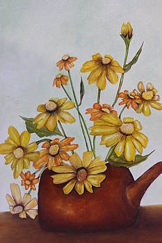 Kettle with flowers by Christine McMillan
