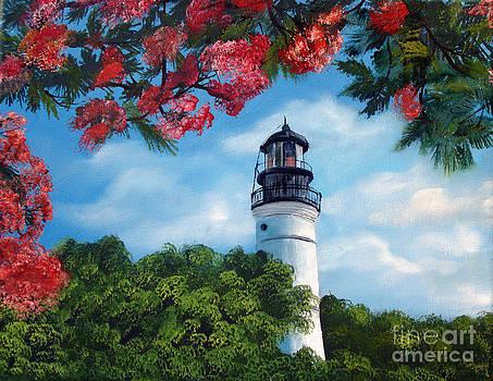 Key West Lighthouse in Bloom by Darlene Green