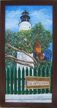 Key West Lighthouse Rooster by Linda Cabrera