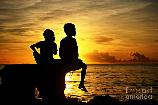 Kids at Sunrise by Jojie Alcantara