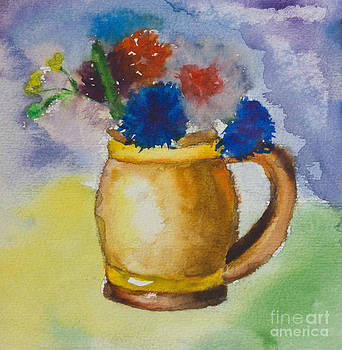 Kid's watercolor drawing of a colorful bouquet by Kiril Stanchev