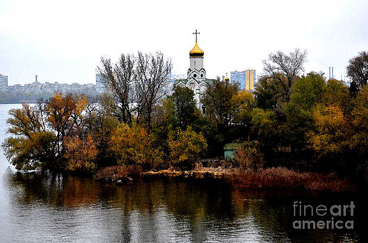 Kind from a bridge in city Dnipropetrovsk.Late autumn. by Leonid Nozdrachov