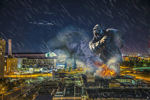 King Kong by Ford Field by Nicholas  Grunas