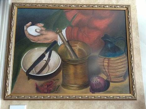 Kitchen Woman holding an Egg by Alma Bella Solis