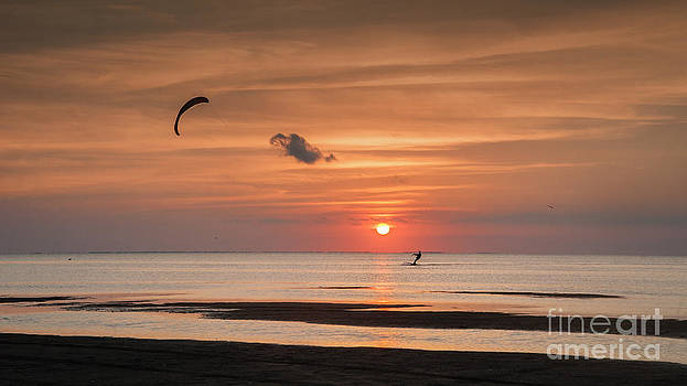 Kiteboarding at Sunset by Tammy Smith