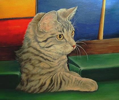 Kitten in a Side Pocket 3 by Pamela Humbargar