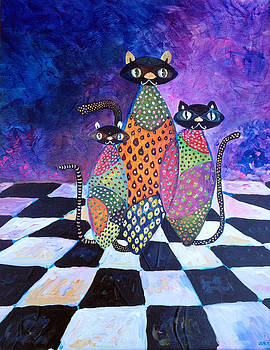 Family Kittens on Chessboard by Patricia Lazaro
