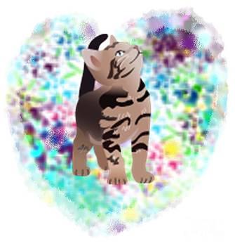 Kitty in a pastel heart by Dawna Raven Sky