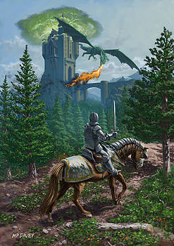 Martin Davey - Knight on horseback approaching dragon guarded castle