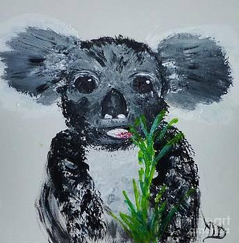Koala Baby eating Eucalyptus by Marie Bulger