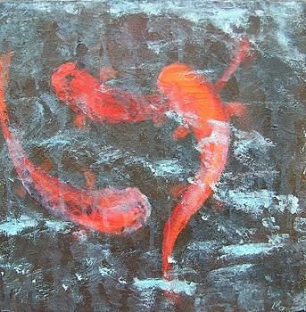 Koi In Frozen Pond by Liesbeth Verboven