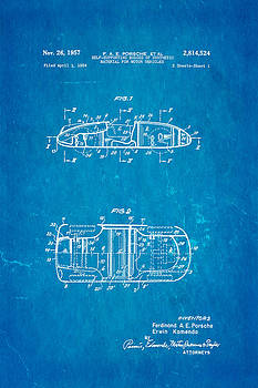 Ian Monk - Komenda Porsche Open Top Body Design  Patent Art 1957 Blueprint