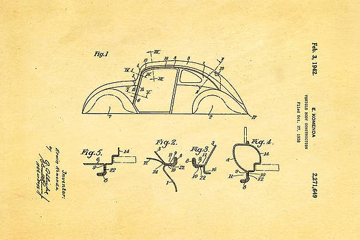 Ian Monk - Komenda VW Beetle Body Design Patent Art 1942