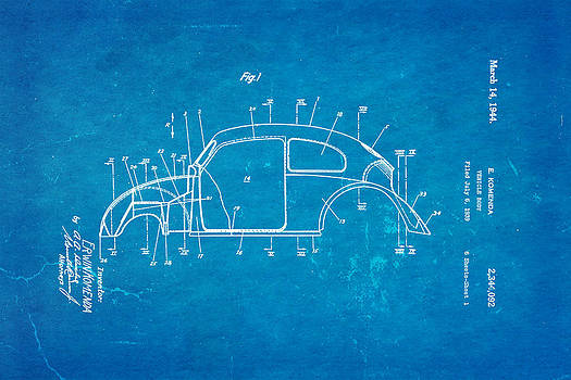 Ian Monk - Komenda VW Beetle Body Design Patent Art 1944 Blueprint