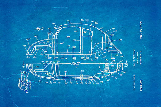 Ian Monk - Komenda VW Beetle Body Design Patent Art 3 1944 Blueprint