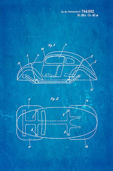 Ian Monk - Komenda VW Beetle Official German Design Patent Art Blueprint