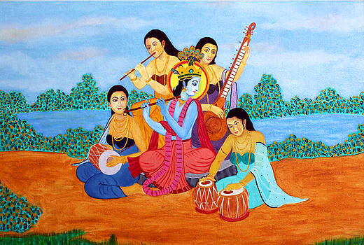Bliss Of Art - Krishna and Gopies