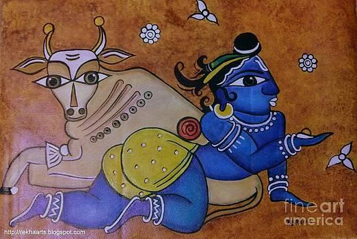 Krishna Indian Style by Rekha Artz