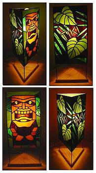 Ku Tiki Hawaiian God of War stained glass lamp by DK Nagano